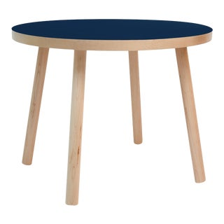 """Poco Large Round 30"""" Kids Table in Maple With Deep Blue Finish Accent For Sale"""