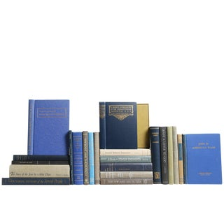 Vintage Blue and Tan Jewish History Books, S/25