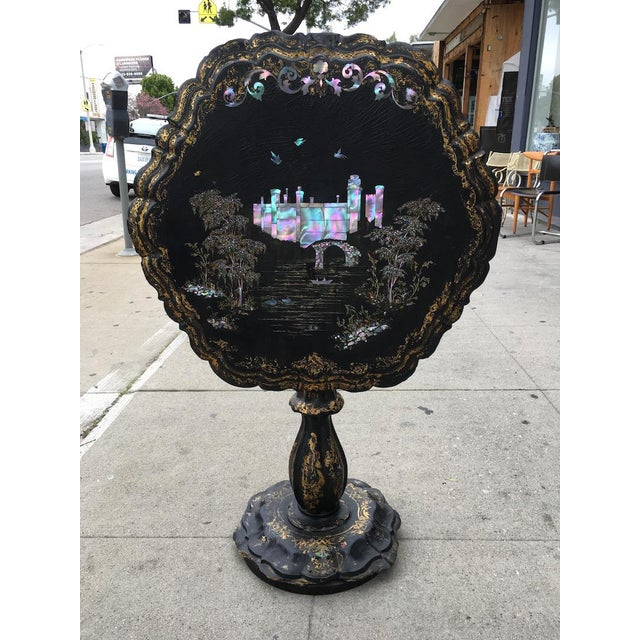 American Classical Victorian Papier-Mache & Mother of Pearl Table For Sale - Image 3 of 11