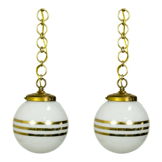 14-Karat Gold Striped Round White Glass Pendants - a Pair For Sale