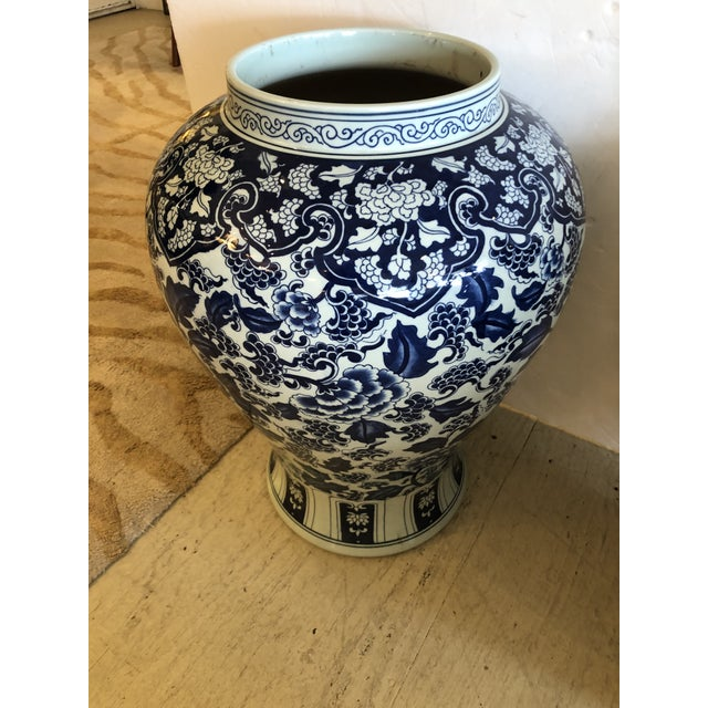 Chinese Large Blue & White Chinese Vases Temple Jars -A Pair For Sale - Image 3 of 10
