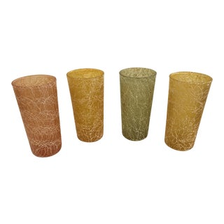 Mid-Century Modern Plastic Coated Spaghetti String Glasses - Set of 4