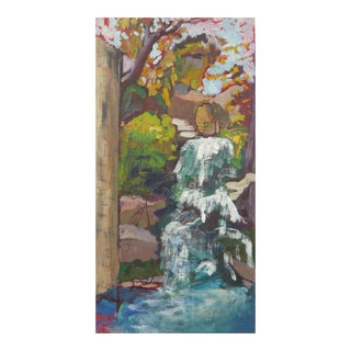 "Contemporary Painting, Original Landscape of ""Waterfall in the Japanese Garden"" Oil Painting For Sale"