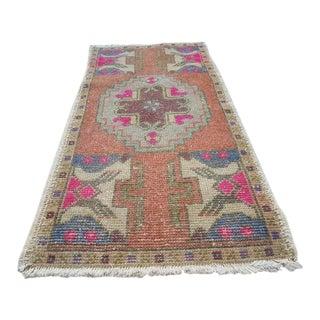 1970s Vintage Turkish Wool Rug - 1′8″ × 3′3″ For Sale