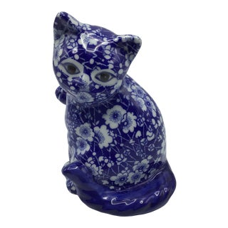 Vintage Chintz Porcelain Blue and White Floral Calico Kitten For Sale