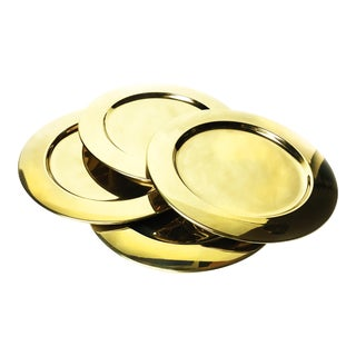 Vintage Gold Aluminum Charger Plates - Set of 4 For Sale