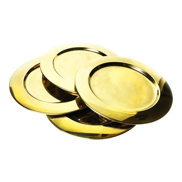 Vintage Gold Aluminum Charger Plates - Set of 4 For Sale