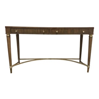 Thomasville Modern Walnut Finished Wood Console Table/Desk For Sale