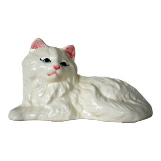 Mid-Century White Cat Cachepot For Sale