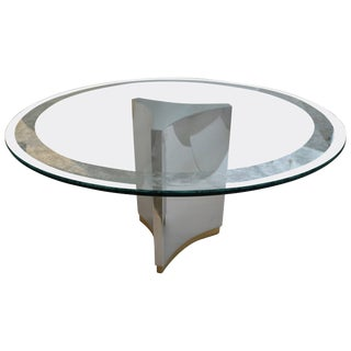 Dining Table in Polished Steel, Brass and Etched Glass For Sale
