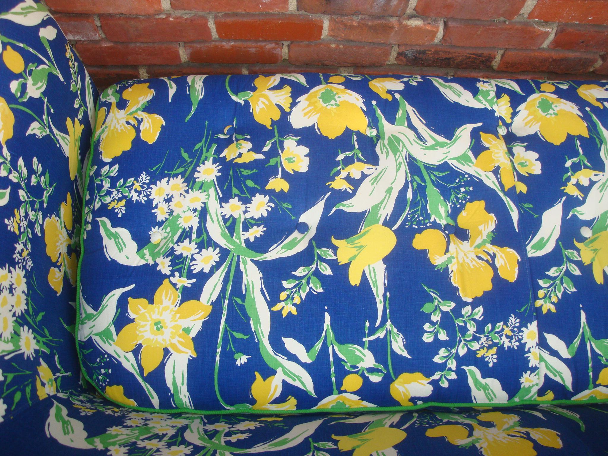 Cotton 1970s Blue U0026 Yellow Floral Sofa By Highland House Of Hickory For  Sale   Image