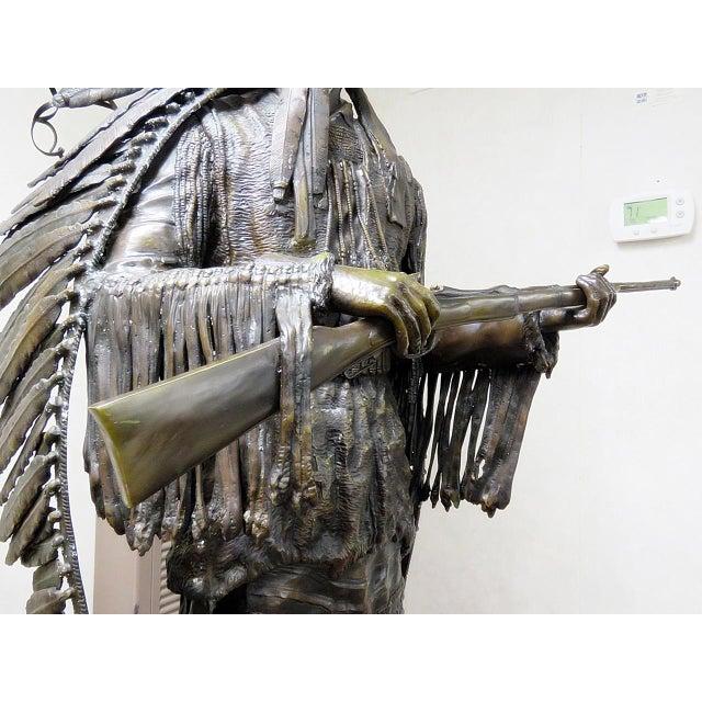 Bronze Indian Sculpture Signed Carl Kauba For Sale - Image 10 of 13