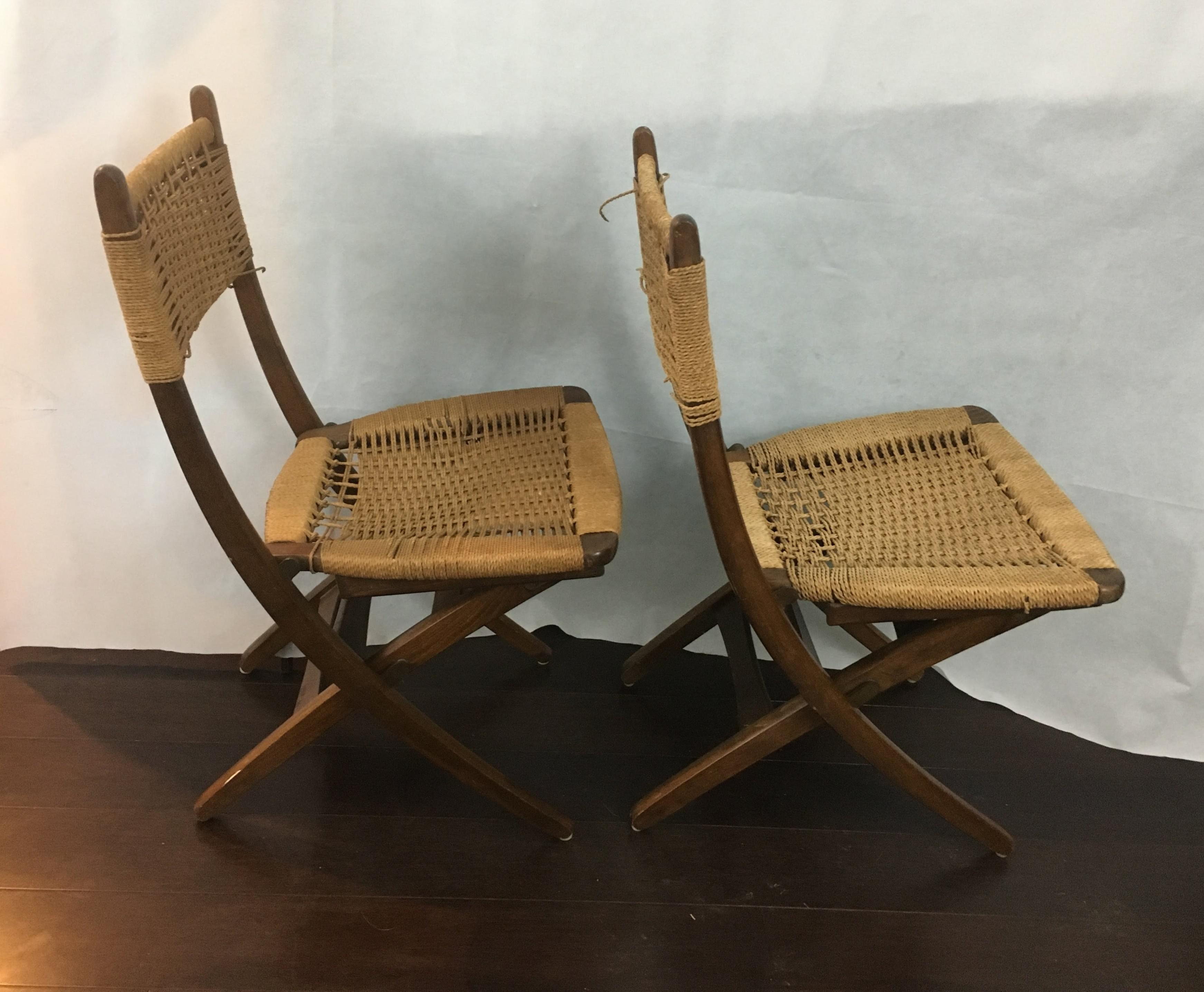 Hans Wegner Folding Rope Chairs   A Pair   Image 7 Of 13