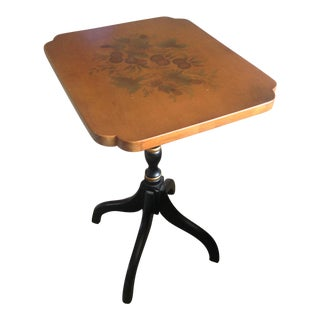 Mid 20th Century American Classical L. Hitchcock Stenciled Small Side Table For Sale