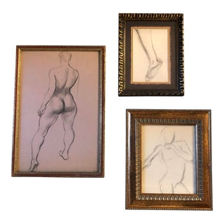 Gallery Wall Collection 3 Vintage Charcoal Female Nude Studies For Sale