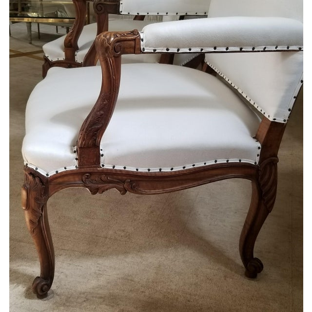 19th C. Walnut Louis XV Armchairs Pair For Sale - Image 10 of 12