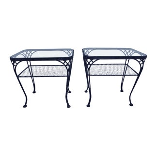 Mid-Century Woodard Iron Side Tables - A Pair