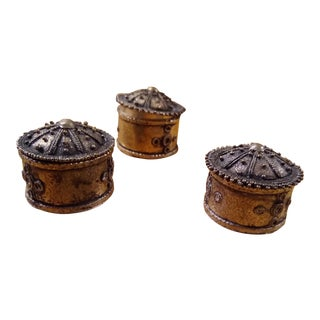 Mid-Century Primitive Handmade Silver Lidded Boxes - Set of 3 For Sale