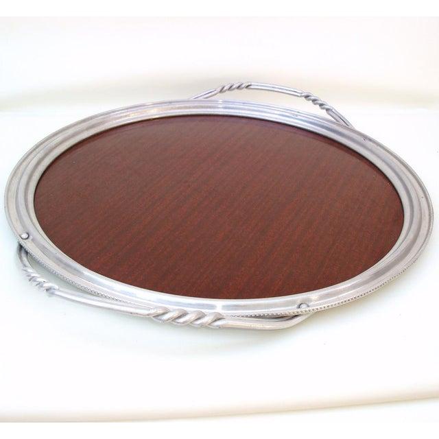 Aluminum & Faux Wood Bar Tray Serving Platter - Image 3 of 7