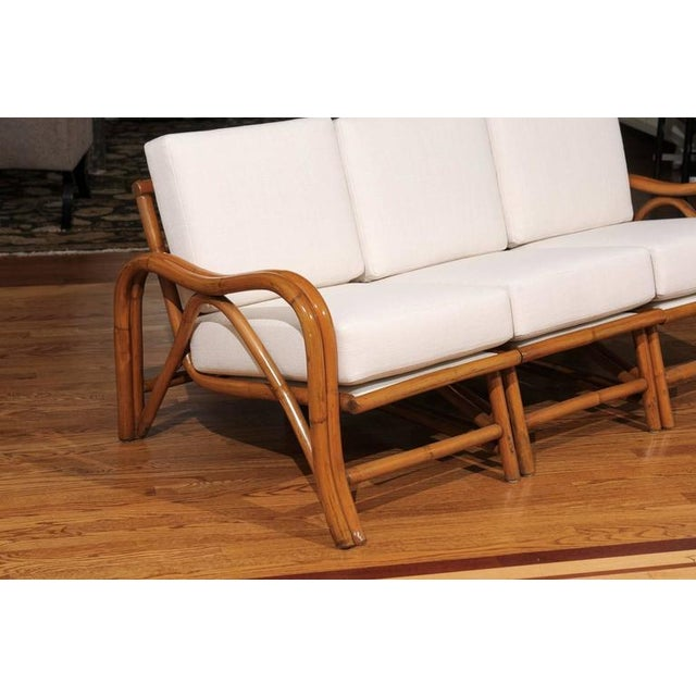 White Fantastic Restored Vintage Modern Rattan Three-Seat Sofa For Sale - Image 8 of 8