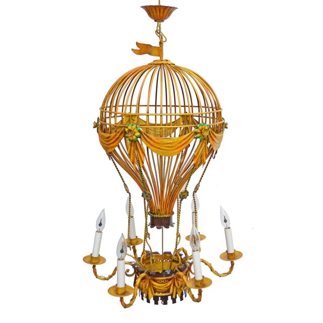 1950s Vintage Italian Tole Hot Air Balloon Chandelier For Sale - Image 5 of 6