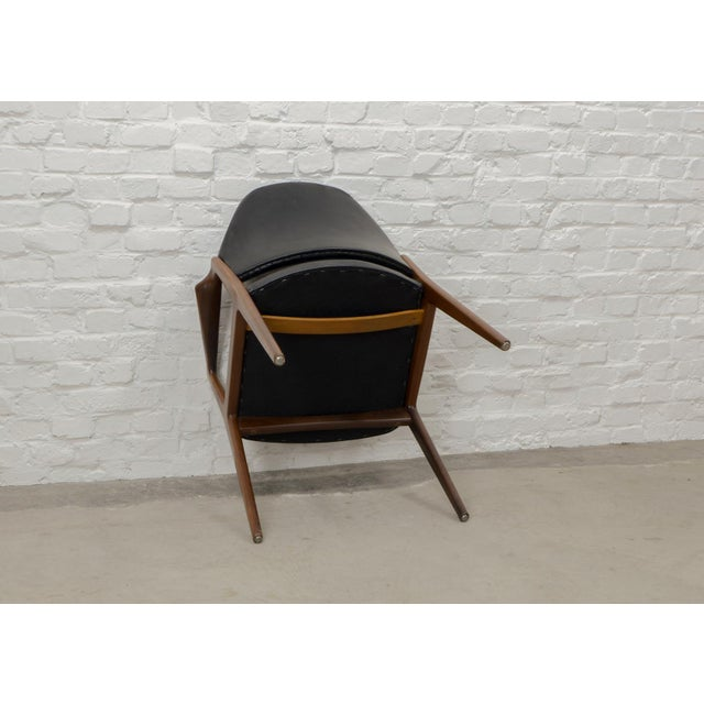 Mid-Century Scandinavian Design Teak Wood and Leather Side / Desk Chair, 1960s For Sale - Image 10 of 11