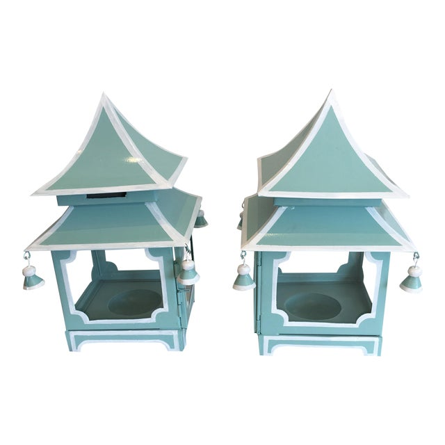 Blue Pagoda Candle Lanterns - A Pair - Image 1 of 4
