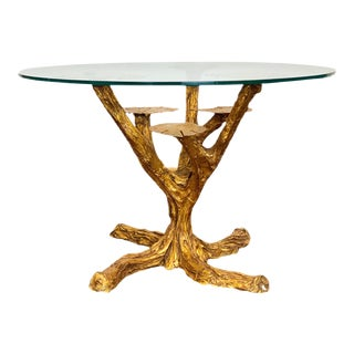 1970s Hollywood Regency Gilt Tree Metal Round Coffee Table For Sale