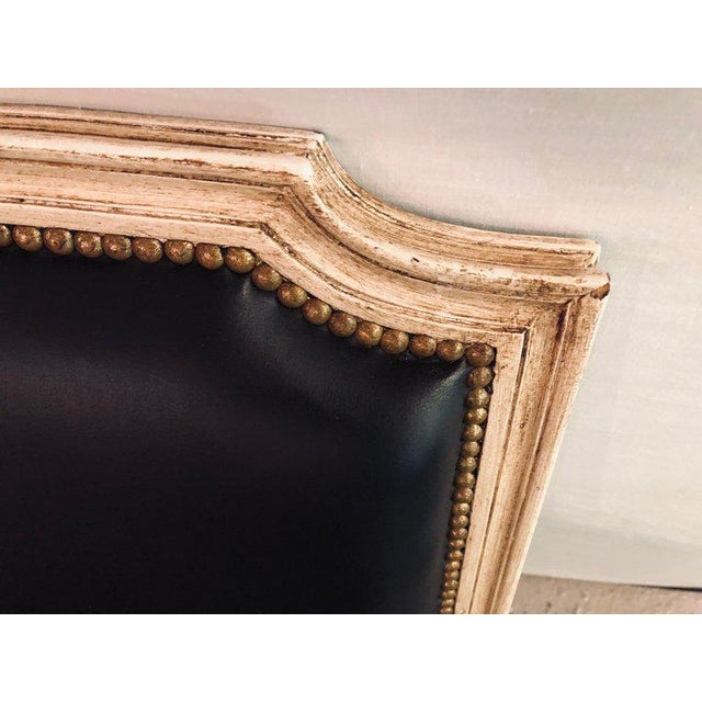 Leather Pair Painted and Parcel Gilt Maison Jansen Black Leather Arm or Bergere Chairs For Sale - Image 7 of 13