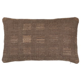 Indian Handwoven Weave Olive Window Pillow For Sale