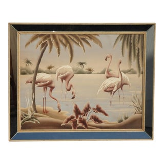 Vintage Mid Century Flamingo Picture by Turner Wall Mantle Mirror #35 For Sale