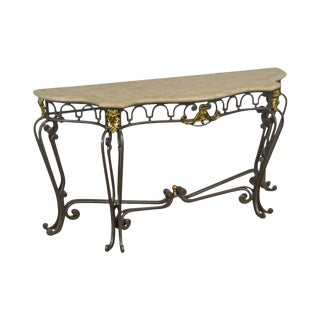 Regency Style Tessellated Marble Top Wrought Iron & Brass Console For Sale