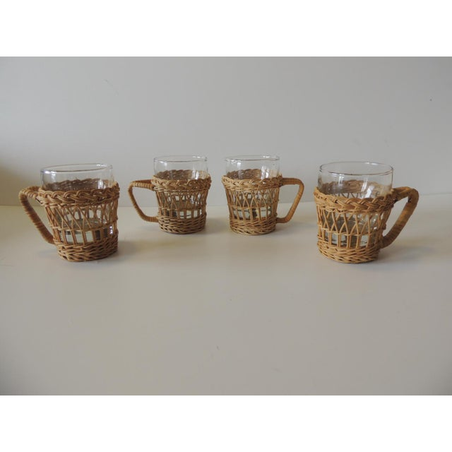 Wood Set of (4) Woven Rattan Holders Drinking Glasses For Sale - Image 7 of 7