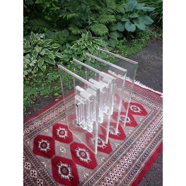 Hollywood Regency 1970s Vintage Hollywood Regency Verano Stacked Lucite Table Base For Sale - Image 3 of 6