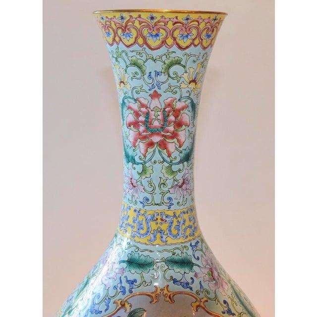 Vintage Chinese Enamel Vase, Flora & Fauna Details For Sale - Image 9 of 11