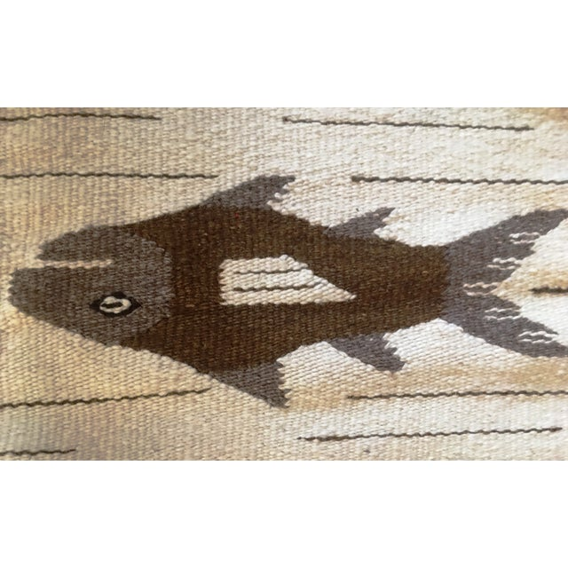 Wood 1970s Vintage Wall Tapestry / Area Rug - 4′5″ × 6′3″ For Sale - Image 7 of 11