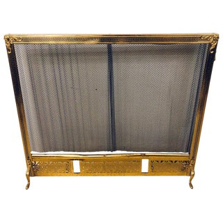 Finely Detailed Louis XVI Solid Brass Fire Screen For Sale