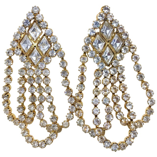 1960s William deLillo Goldtone and Clear Crystal Dangling Earrings For Sale