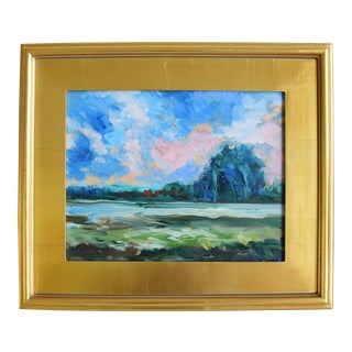 Plein Air Landscape & Meadow Painting W/ Gold Leaf Frame For Sale