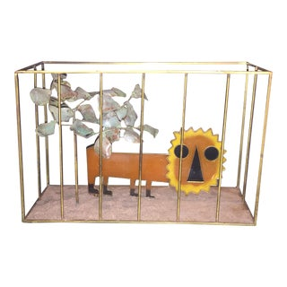 ANIMATED CURTIS JERE MODERNIST POP ORANGE RESIN LION IN BRASS CAGE SCULPTURE For Sale