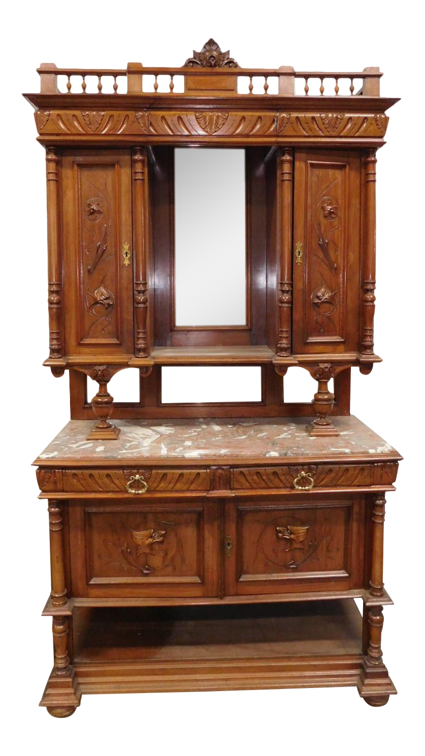 Antique Carved Walnut French Renaissance Hunt Board Marble Top Dining Room Buffet W/ Hutch Top  sc 1 st  Chairish & Antique Carved Walnut French Renaissance Hunt Board Marble Top ...
