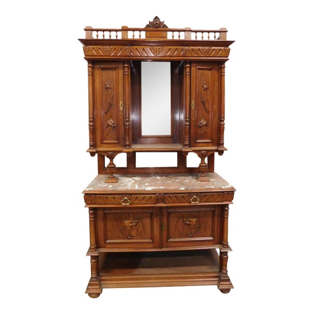 Antique Carved Walnut French Renaissance Hunt Board Marble Top Dining Room Buffet W Hutch
