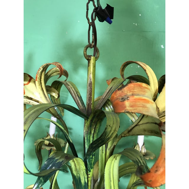 Metal Vintage Italian Hand Painted Tiger Lily Tole Chandelier For Sale - Image 7 of 13