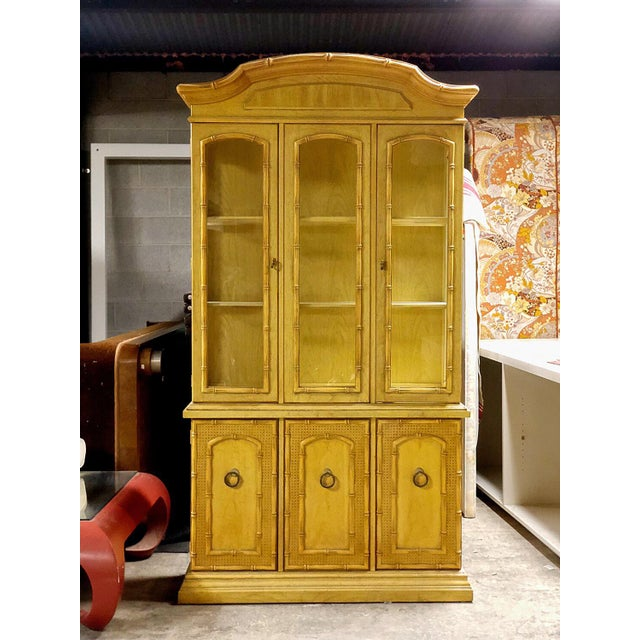 Vintage Yellow Faux Bamboo China Cabinet For Sale - Image 12 of 13