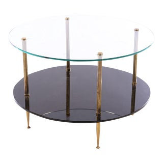 1950s French Mid-Century Glass Top Coffee Table For Sale
