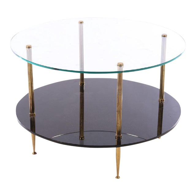 1950s French Mid-Century Glass Top Coffee Table - Image 1 of 4