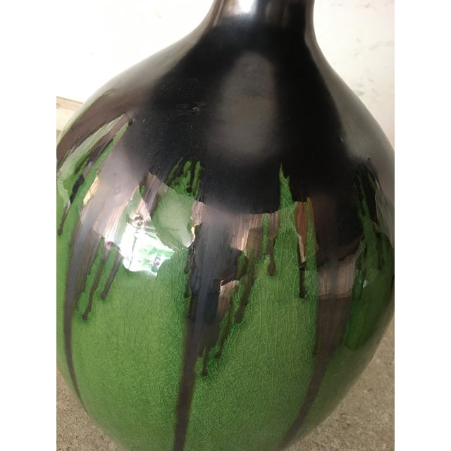 Green Flambe Pottery Lamps - a Pair - Image 3 of 4