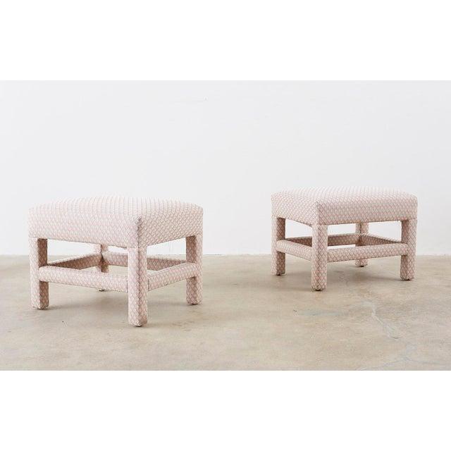 Milo Baughman Milo Baughman Style Parsons Ottoman Benches - a Pair For Sale - Image 4 of 12