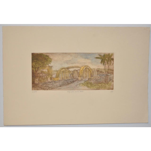"Rainbow Bridge ""Andy's Place - Haleiwa, Hawaii"" Color Etching by Partee c.1970s Beautiful vintage etching by noted..."