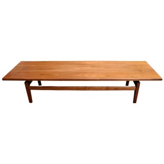 Mid-Century Modern Solid Walnut Low Coffee Table or Long Bench by Jens Risom For Sale